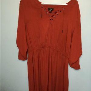 Burnt orange high-low dress